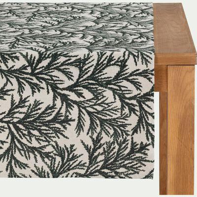 Chemin de table en lin et coton 50x200cm - vert-MALON