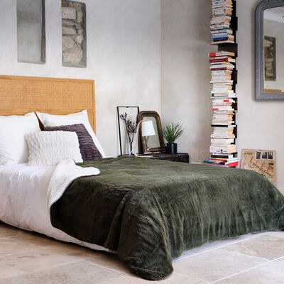 Couvre lit imitation fourrure  - vert cèdre 180x220cm-MARIUS