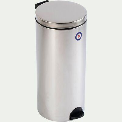 Poubelle en acier et plastique - gris 30L-ELORA