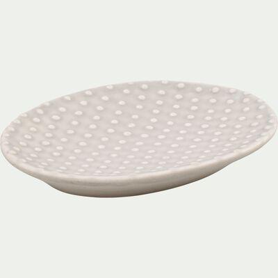 Porte savon en céramique relief - beige alpilles-NARCISSE
