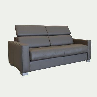 Canapé 3 places convertible en cuir avec accoudoir 15cm - taupe-MAURO