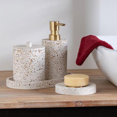 Porte-savon en terrazzo - blanc D11cm-TERRAIO