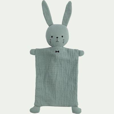 Doudou lapin en coton - vert h37cm-Lapinou