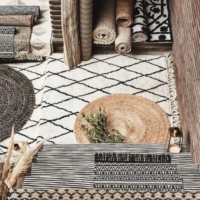 Tapis en coton inspiration berbère - blanc écru 120x170cm-TRIPOLI
