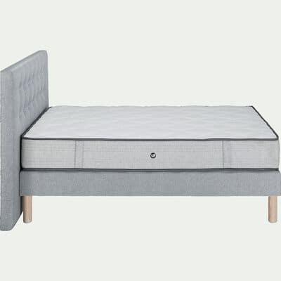Ensemble matelas sommier avec tête de lit capitonnée - gris clair 140x200cm-ROCCAS