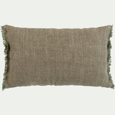 Coussin chambray avec frange en lin - vert maquis 30x50cm-ORLU