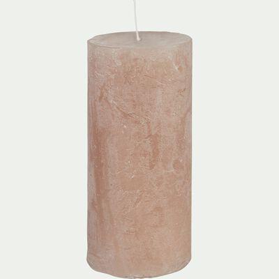 Bougie cylindrique rose argile D7xH15 cm-BEJAIA