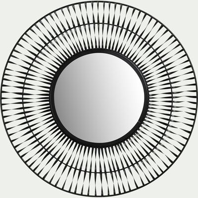 Miroir rond en fer torsadé - noir D50cm-AMAGA