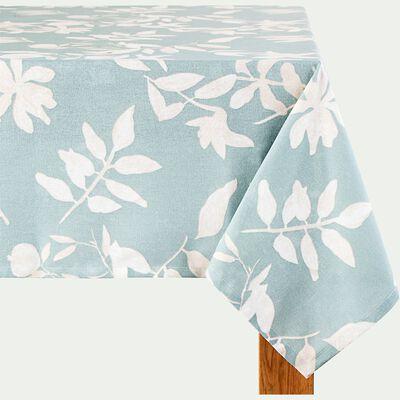 Nappe en coton à motif floral - bleu 170x250cm-MALINI
