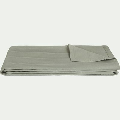Couvre-lit tissé en coton - vert olivier 180x230cm-BELCODENE