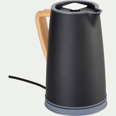 Bouilloire électrique noire avec poignée en bois-CAUFA