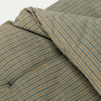 Edredon matelassé rayé - vert et jaune 100x180cm-KHADI