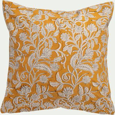 Coussin imprimé block print floral en coton - jaune 45x45cm-SARIBLOCK
