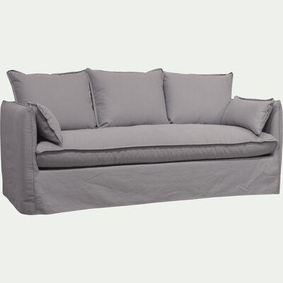 Canapé 4 places fixe en coton et lin - gris borie-KALISTO
