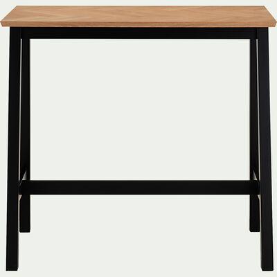 Table haute mange debout en placage chêne H105xL120cm - naturel (4 à 6 places)-PORT BOU