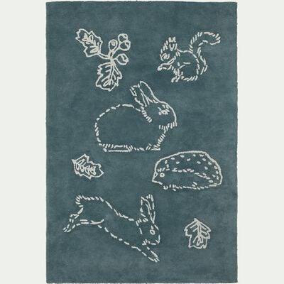 Tapis enfant tufté rectangle motif bestiaire 120x180cm - vert-Bestiaire