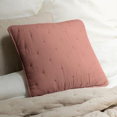Coussin effet capitonné en polyester - brun rhassoul 45x45cm-BADOUR