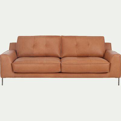 Canapé 3 places fixe en cuir de buffle - marron camel-UMBERTO