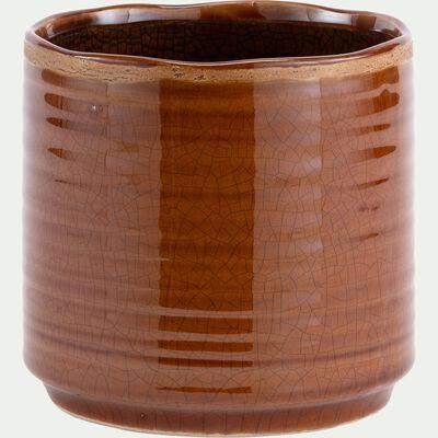 Pot en céramique - marron camel D14xH13cm-PACHERI
