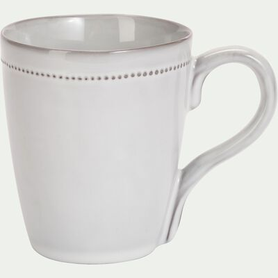 Mug en porcelaine avec liseré perlé - gris borie 31cl-MARGOT