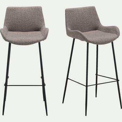 Chaise de bar en tissu gris anthracite - H75cm-GEDEON