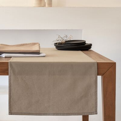 Chemin de table en coton vert olivier 45x200cm-VENASQUE