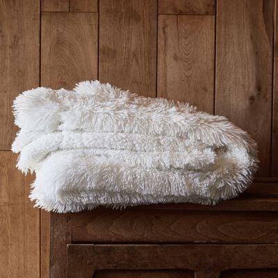 Plaid imitation fourrure - blanc 130x170cm-ELEC