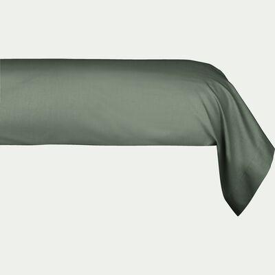 Taie de traversin en percale de coton - vert cèdre 43x190cm-FLORE