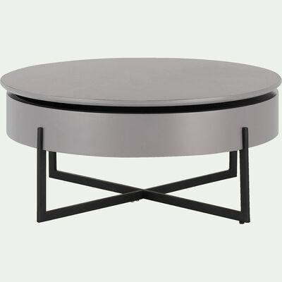 Table basse ronde avec plateau rotatif - gris borie H37,5xD85cm-CHOUCAS