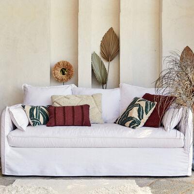 Canapé 3 places fixe en coton et lin - blanc capelan-KALISTO