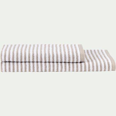 Serviette de toilette rayée en coton - beige alpilles 50x100cm-Gary