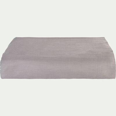 Drap plat rayé en satin de coton - gris restanque 270x300cm-SANTIS
