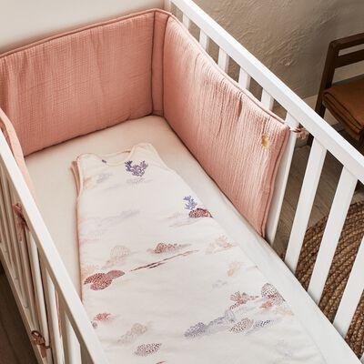 Drap housse bébé en coton bio 70x140+B15cm - blanc-Calanques