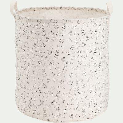 Panier de rangement avec motif - blanc nougat D40xH40cm-Lony