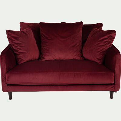 Canapé 2 places fixe en velours - rouge sumac-LENITA