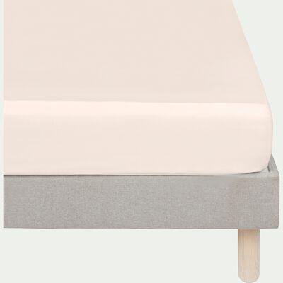 Drap housse rayé en satin de coton - rose grège 140x200cm B25cm-SANTIS