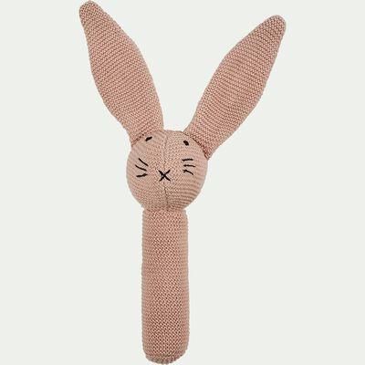 Hochet forme lapin en coton bio - rose-Rafy