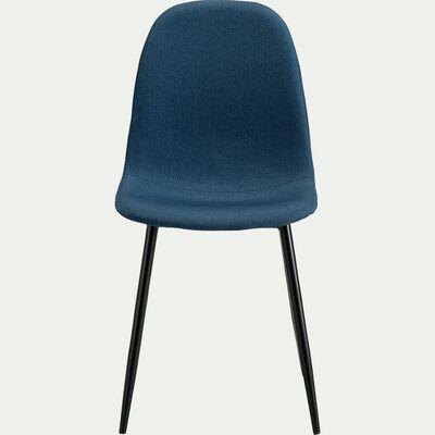 Chaise en acier et tissu avec piètement noir - bleu figuerolles-LOANA