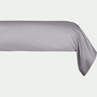 Taie de traversin en percale de coton - gris restanque 43x190cm-FLORE