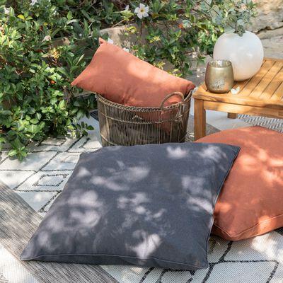 Coussin d'extérieur et intérieur déperlant - gris ardoise 70x70cm-TRAYAS
