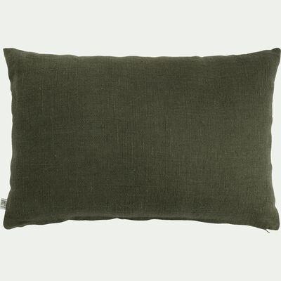 Coussin tissé plat en lin - vert maquis 40x60cm-CAMPA