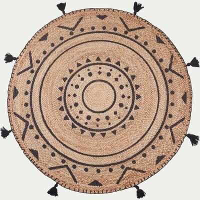 Tapis en jute rond à motifs ethniques pompons - gris D120cm-ANTALYA