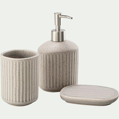 Set de salle de bain en céramique mouchetée - beige alpilles-NANS