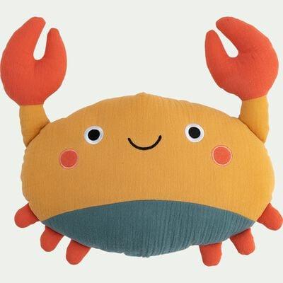 Coussin crabe en coton - jaune moutarde 31x34cm-Craby