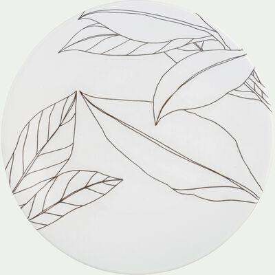 Assiette à dessert en grès blanc capelan décoré D21cm-LAURIER