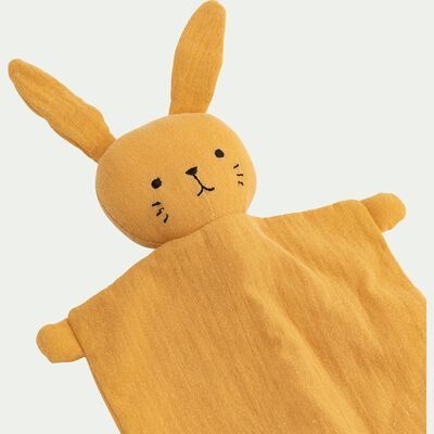Doudou lapin en coton - jaune pissenlit H37cm-Lapinou