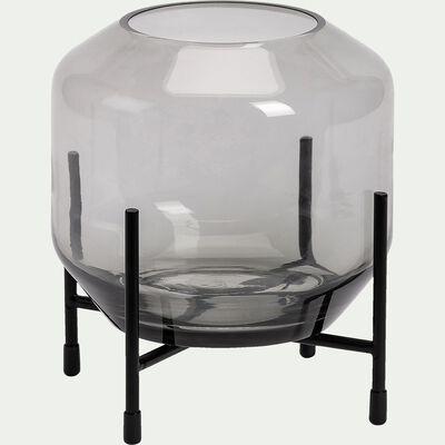 Photophore en verre - gris D15xH17cm-SAVERIU