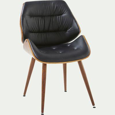 Chaise rétro capitonnée en simili - noir-LEON