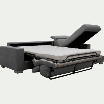 Canapé d'angle réversible convertible en microfibre - gris-MAURO