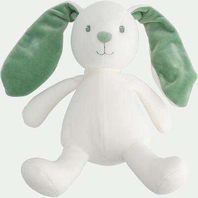 Peluche lapin - blanc et vert H30cm-Zoe